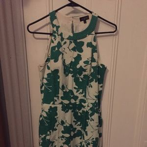 Fit and flair, halter top green floral print dress